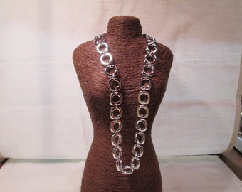 Art Deco/Retro Styled Necklace, 924 Sterling Silver, SIZE: 20""