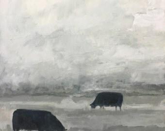 "Entitled grazers, original painting by kirsten kainz cow landscspe 24 x 24"" x 1.5"""