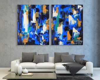 Abstract Painting, Large Abstract, Original Painting, Abstract Decor, Extra Large Art, 60x40, Diptych Painting, Made to Order,Commission Art