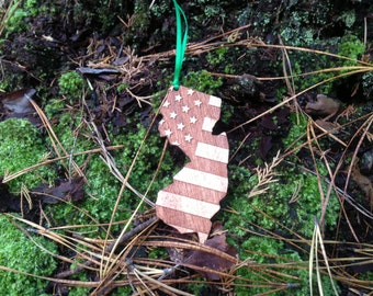 NJ US Flag Ornament