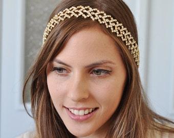 Gold Wedding headband, Rhinestone headband, Bridal Headband, Bridal Hair Accessory, Wedding hair Accessory