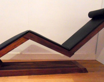 wooden chaise longue - teak - fsc certified - with leather cushion - handmade furniture