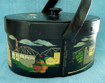 Vintage Sewing Basket Box Purse Hand Painted Box Purse Handpainted Sewing Basket