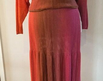 Boho Wearable art Hippie handmade vintage set skirt and top Ombre Gradient rainbow