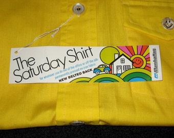 "Vintage 70s MANHATTAN ""The SATURDAY"" BBQ Lounge Party Shirt. Nos. Nwt. L"