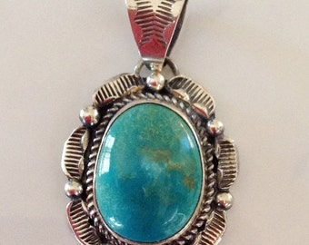 Native American Navajo Stamped Sterling Silver Turquoise  Pendant Signed Begay