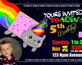 Nyan Cat Birthday invitation