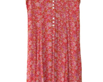 Nineties Pink Floral Button Down Dress