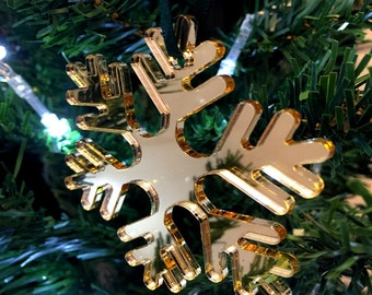 Set of 10 x Gold Icy Snowflake Christmas Tree Decorations in Mirrored Acrylic