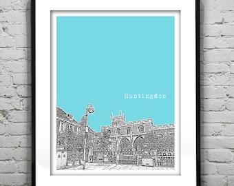 Huntingdon England Skyline Poster Art Print UK Version 2