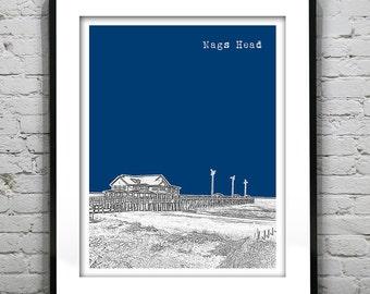 Nags Head Poster Art Print Skyline North Carolina NC Version 3 Jeanette's Pier