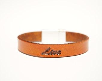 """Leather Bracelet - """"Live"""""""