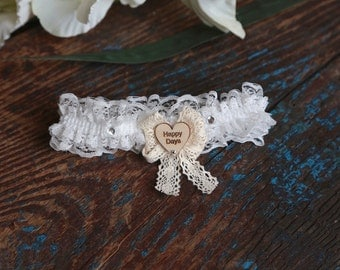 Brides Ivory 'Happy Days' Wedding Garter - With Vintage Style Hand Made Bow