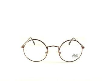 Vintage Eye Glasses Frames Luxottica  mod. 1152, John Lennon Round metal Black Made in Italy Anni '90