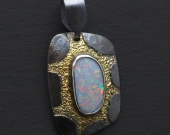 Opal Pendant in Oxidized Silver & 18K Gold