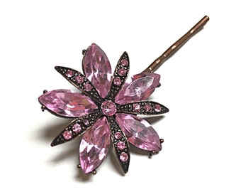 Pink crystal flower bobby pin