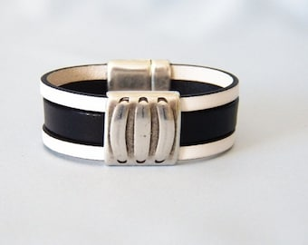 Black and White Leather Bracelet