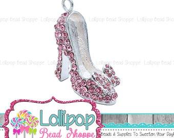 45mm Pink High Heel Shoe Rhinestone Pendant 3D Butterfly Bow Bubblegum Beads Chunky Necklace Pendant Bling Crystal Bubblegum Bead RP295