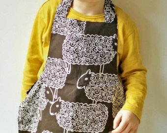 Comfortable kids apron with little sheep Easy to put on Washable Fun gift Hand made 100% cotton children apron  3 - 6 years ready to ship