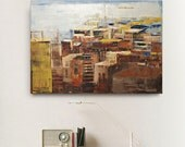 Abstract painting orange and red modern minimalist large canvas art 39.37/27.5 100/70cm. Free shipping. Old town.