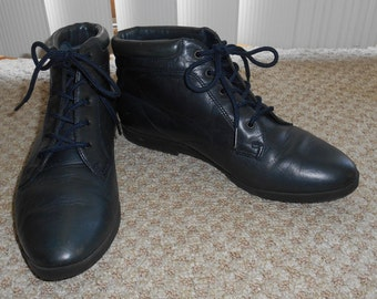 Vintage 90's Blue Leather Lace Up Boots - Size 6 M
