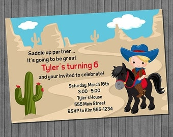 FLASH SALE 50% OFF Cowboy and Cowgirl Birthday Invitation