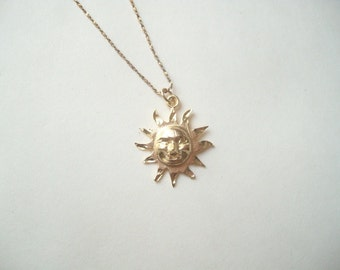 Vintage 10k gold sun pendant necklace, solid gold sun charm necklace, genuine gold, smiling gold sun, gold sun necklace