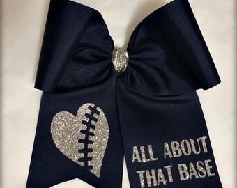 """Cheer Bow """"All About That Base"""" Dark Navy And Silver Glitter, Pony O or French Barrette, Ready To Ship"""