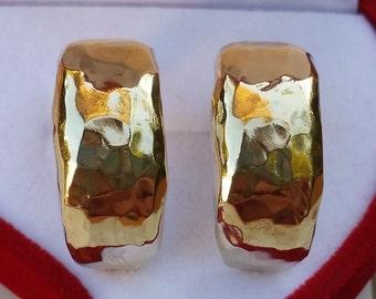 Gold Earrings 14K Yellow Gold Hoop Handmade Artisan Crafted Hammered Women