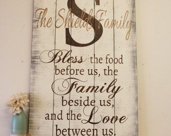 Bless The Food Family Sign Wood Kitchen Sign Pallet Sign Rustic Wood Wall Decor Dining Room Decor Wall Art Shabby Chic Housewarming Gift