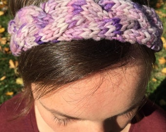 Purple Braided-Knit Headband