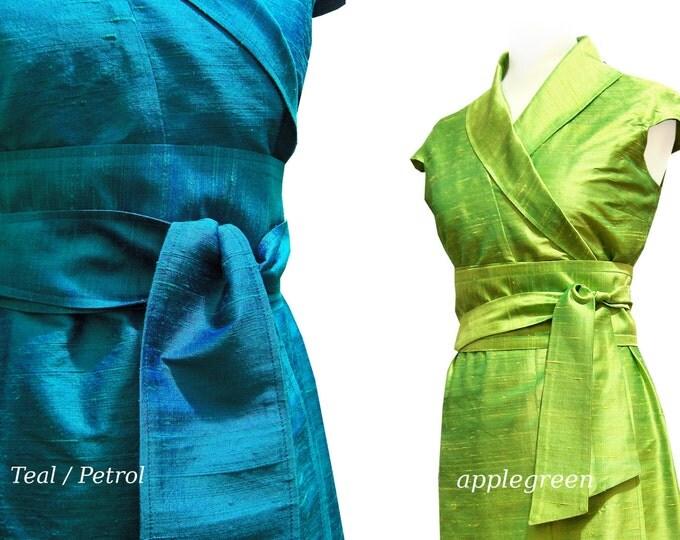Wrap blouse kimono style raw silk basic article color choice