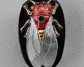 CZECH GLASS BUTTON: 26x39mm Handpainted Cicada with 4mm Emerald Chaton Czech Glass Button, Pendant, Cabochon (1)