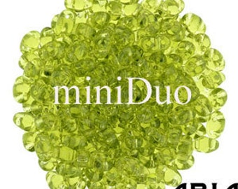 OLIVINE: MiniDuo Two-Hole Czech Glass Seed Beads, 2x4mm (5 grams)