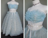 1950's Powder Blue Ruffled Strapless Sweetheart Neckline Tea Length Cupcake Party Dress - size Small Medium