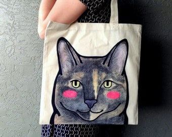 Personalized Pet Tote Bag - Cat Tote Bag - Custom Pet Portrait - Personalized Portrait - Pet Lovers - Gift for Pet Lovers