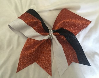 All Glitter Tick Tock Orange White Black Bow