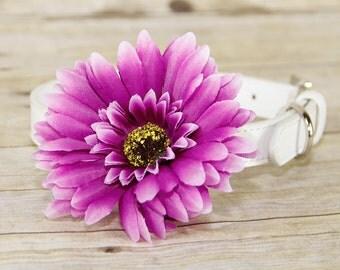 Gerbera Daisy Dog Collar Flower, Dog Collar Accessory, (Collar not included), Collar Attachment, Purple Flower, Focus for a Cause