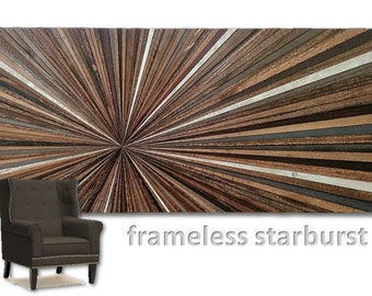 Reclaimed Wood Wall Hanging Art Sculpture Starburst Frameless Large Transistional Rustic Modern Abstract Infinity Point Unique OOAK Handmade