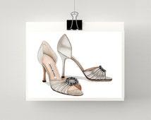 Print of Manolo Blahnik Something silver high heel sandals