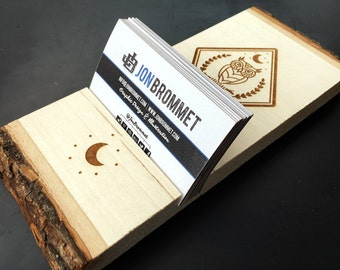 Laser Engraved Wood - Night Owl - Cell Phone / Card Holder