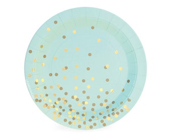 Mint + Gold Confetti Dessert Plates (Set of 12) - Mint To Be