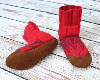 """Ladies Slippers, 9-10 US Felted Wool ~ 100% wool ~ """"Blazing Boho"""" ~ Eco friendly ~ One Pair Ready to Ship"""