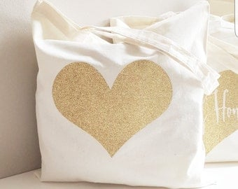 Cotton Canvas Tote Bag - Glitter Gold Heart Party Tote