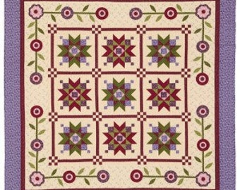 Nancy Rink Designs Picking Violets Purple Floral Fabric Complete Quilt Kit 77 x 77 Finished