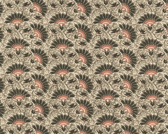 RJR Chocolate & Bubble Gum Cream Brown Pink Fans Civil War Fabric 2715-001 BTY