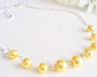 Custom Colours Pearl Necklace Set Yellow Necklace Yellow Bridesmaid Jewelry Wedding