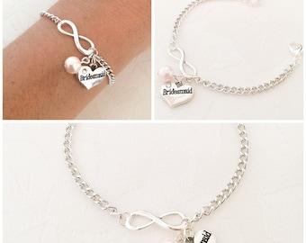 Infinity Bracelet, Personalised Bracelet, Bridesmaid Bracelet, Initial Bracelet, Pearl Bracelet, Personalised Jewelry