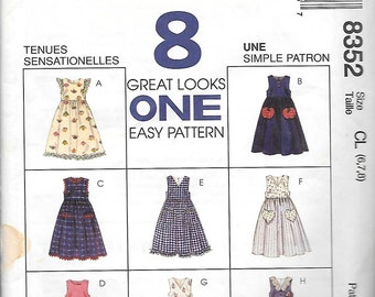 VINTAGE 1996 McCall's 8 Great Looks Pattern 8352 JUMPERS Girls' 6 7 8