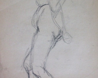 FEMALE LIFE DRAWING Study- Charcoal on Paper- Vintage Fine Art